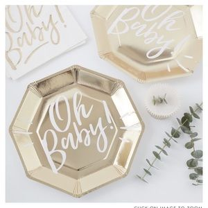"""Ginger Ray Gold Foil """"oh baby"""" Plates - 2 pack"""